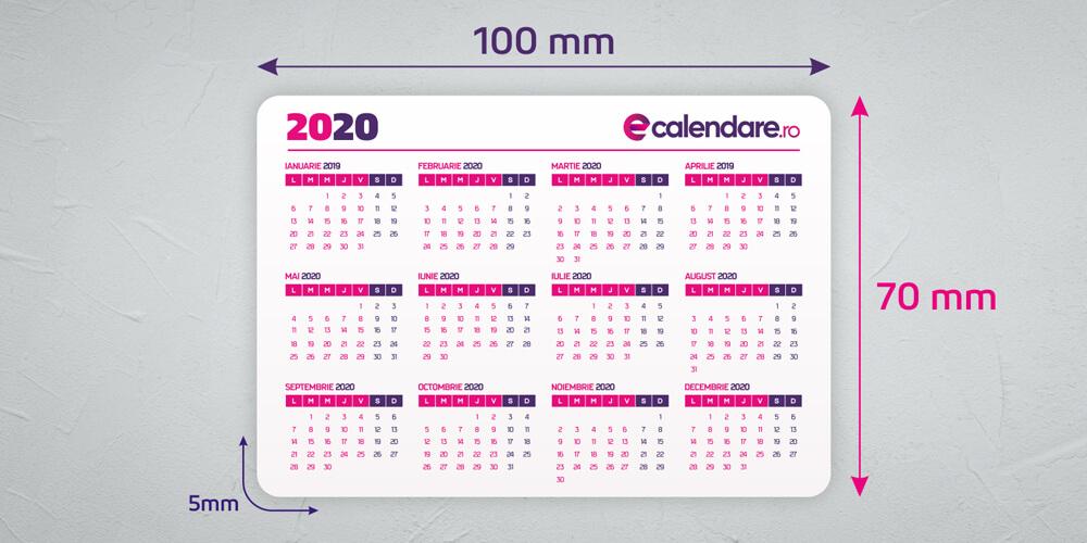 Dimensiune calendar de buzunar