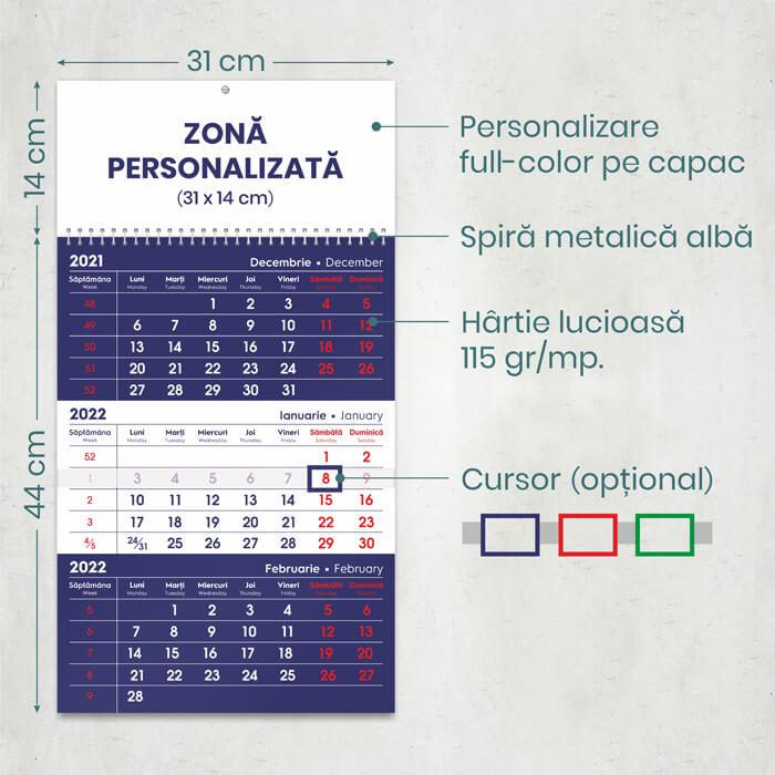 Dimensiuni calendar triptic